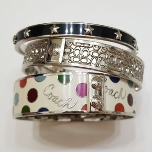 Coach Signature Bangle Set - Silver Polka-dot Star